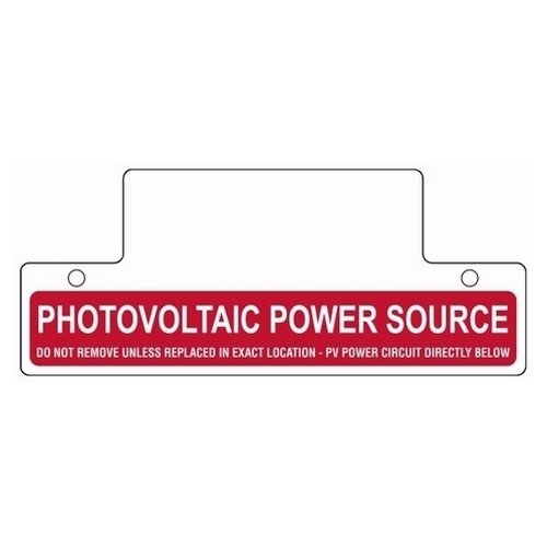 HellermannTyton 596-00257 Pre-Printed Solar Label, Reflective, Roof Top Label, 6.75'' X 2.75'', PV POWER SOURCE, Vinyl, Red, 1/pkg