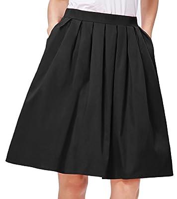 GRACE KARIN Women's Elastic Waist Pleated Vintage Skirts CL10401