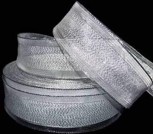 "5 Yds Christmas Metallic Silver Sheer Pinstripe Edge Wired Ribbon 1 1/2""W Florist, Flowers, Arts & Crafts Gift Wrapping"