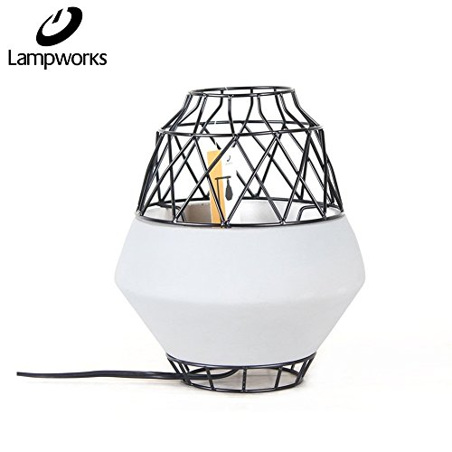 Vintage Series Table Lamp (Lampworks Table Lamp Concrete Cement Base Bedside Lamp Black Iron Wire Cage Lampshade Desk Lamp Modern Industrial Design Light for Bedrooms Living Room(Bulb Not Included))