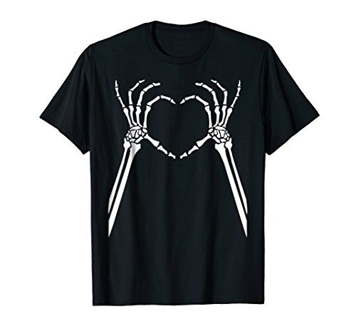 Cute Skeleton Heart Hands Halloween Party Costume T Shirt