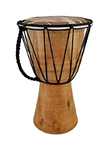 Things2die4 Wood Djembes Decorative Tiger Print Mini Djembe Wood Drum 10 In. 6 X 10 X 6 Inches Multicolored Model # 40321