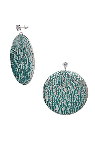 Large Disc Earrings (Disc Drop Earrings Dangle Charms Oversized Textured Thin Metal Pierced Ear Studs (Jade Green, Silver))