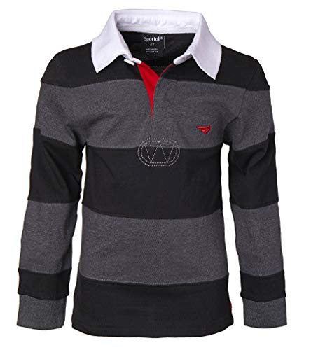 Sportoli Big Boys 100% Cotton Wide Striped Long Sleeve Polo Rugby Shirt - Black/Charcoal (Size 8)