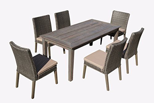 Carabelle Hardwood and Wicker Outdoor Patio 7 Piece Straight Leg Dining Set with Seat Cushions, Antique Grey and Beige - Wicker color: Grey cushion: Beige Threated natural hardwood provides all-weather durability All weather Chair cushion covers repel water and moisture - patio-furniture, dining-sets-patio-funiture, patio - 41oig23bLcL -