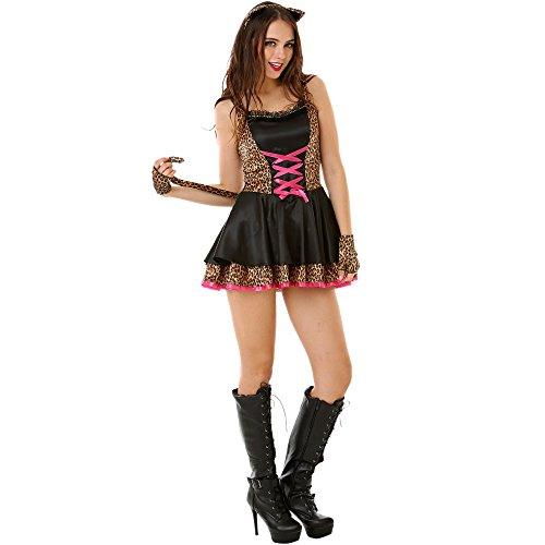 Adult Sexy Kitty Costumes (Flirty Feline Women's Halloween Costume Sexy Kitty Cat Kitten Dress Outfit)