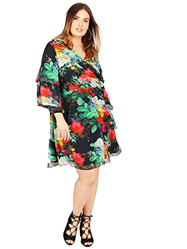 Double Dress with Women's Floral Sleeves Size Layer Koko Wrap Print Plus W8wBxFqS