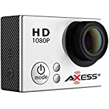 AXESS CS3604 1080p Full HD Wide Angle Lens Sports and Action Camera with Waterproof Housing and Accessories (Silver)