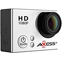 AXESS CS3604SL 1080p Full HD Wide Angle Lens Sports and Action Camera with Waterproof Housing and Accessories (Silver)