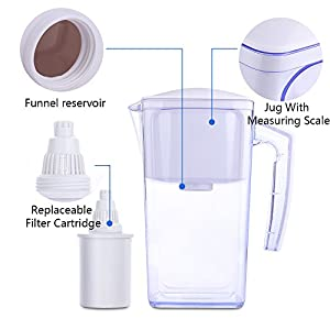 OXA 10 Cups Alkaline Water Pitcher with 2 longevity Filters, 2.5L large capacity cool water bottle water filter purifier water filtration system,BPA-Free NSF FDA Certification ,white