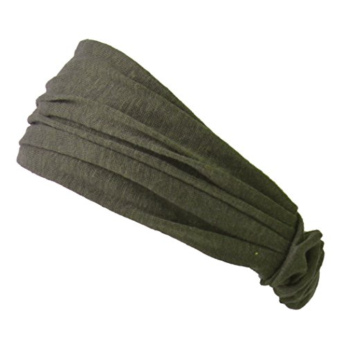 [Casualbox | Linen Head Band Bandana Natural Elastic Hairband Sports Fashion Wrap Khaki] (60s Fashion Mens)