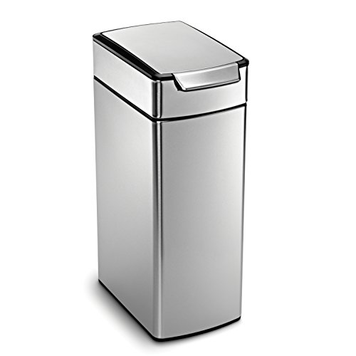 - simplehuman 40 Liter / 10.6 Gallon Stainless Steel Slim Touch-Bar Kitchen Trash Can, Brushed Stainless Steel