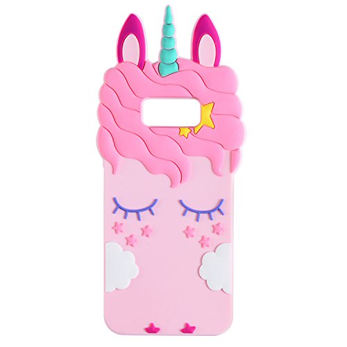 Joyleop Pink Unicorn Case for Samsung Galaxy S8, Cute 3D Cartoon Animal Cover,Kids Girls Cool Fun Soft Silicone Gel Rubber Kawaii Character Fashion Unique Cases Protector Shell Skin SamsungS8