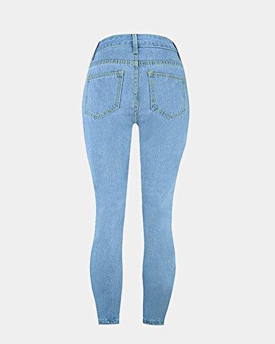 Dchirs En Jeans Jean Femme Stretch Trous Taille En Vrac Pantalons Pantalon Haute Jeans Bleu Denim clair xwB1EvEnq0