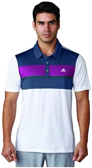 adidas Climacool Chest Block Camiseta Polo de Golf, Hombre, Blanco ...