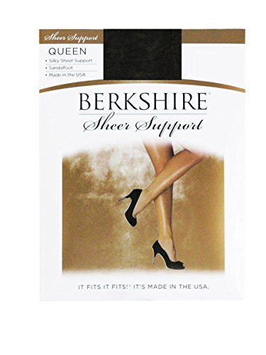 Berkshire Queen Silky Sheer Support Pantyhose - Control Top Sandalfoot 4417, Fantasy Black, 3X-4X (Support Hosiery Womens)