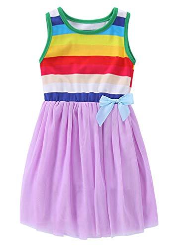 Niyage Toddler Girls Cute Stripes Sleeveless Princess Dress Tulle Tutu Sundress Purple 130