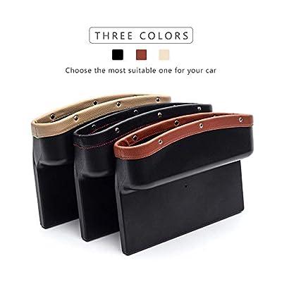 AUTOFAN PU Leather Car Pockets Organizer, Car Seat Gap Filler and Catcher Organizer (beige-2pcs): Automotive