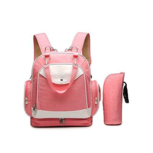 Forme los hombros multi-funcionales bolso antirrobo de la momia, bolso de la madre, madre y bebé mueven el morral del recorrido, bolso del recorrido del bebé ( Color : Rosa Roja ) Pink