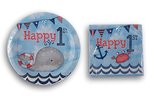 Retail Beach Themed First Birthday Party Supply Kit - Beverage Napkins and Dessert Plates -