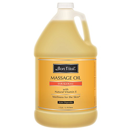 (Bon Vital' Original Massage Oil for a Versatile Massage Foundation to Relax Sore Muscles and Repair Dry Skin, Most Requested, Best Massage Oil on Market, Unbeatable Consistency and Quality, 1 Gallon Bottle - W67406OG)