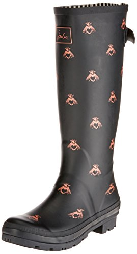 Joules Womens Welly Print Black Love Bees Rubber Boots 7 US ()