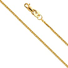 14k Yellow OR White Gold SOLID 0.8mm Braided Square Wheat Chain Necklace with Lobster Claw Clasp