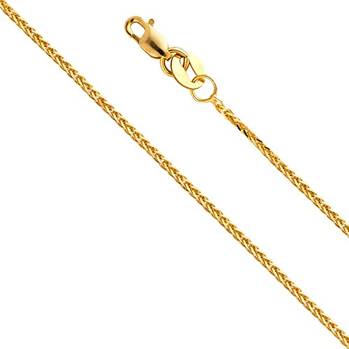 14k Yellow Gold Solid 0.8mm Diamond Cut Braided Square Wheat Chain Necklace with Lobster Claw Clasp - 16