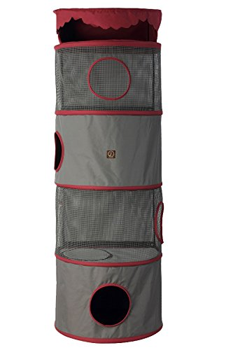 One for Pets 4-Storey All in One Portable Cat Activity Tower, Fuchsia/Grey by One for Pets