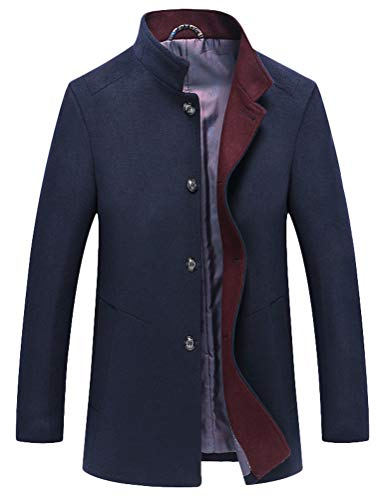 Mordenmiss Men's Wool Trench Coats Winter Warm Business Jacket Overcoat Outwear S Navy