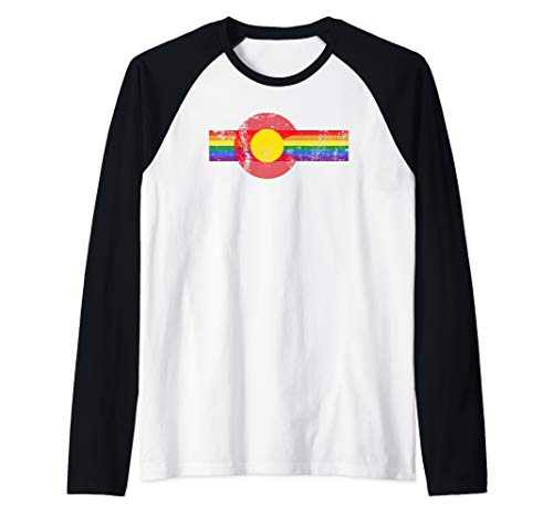 (State of Colorado Flag Gay Pride Vintage Rainbow Retro Gift Raglan Baseball Tee)