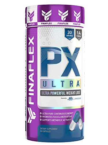 PX Ultra, Powerful Weight Loss and Lasting Energy for Hours, Metabolism, Energy, Motivation, Focus, Teacrine, Caffeine, Green Tea, Extended Release Formula, 60 Capsules