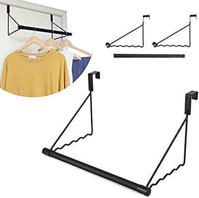 Magicfly Over The Door Closet Rod, Heavy Duty Over The Door Hanger Rack  With Hanging Bar For Coat, Towels Holder, Freshly Ironed Clothes, Black