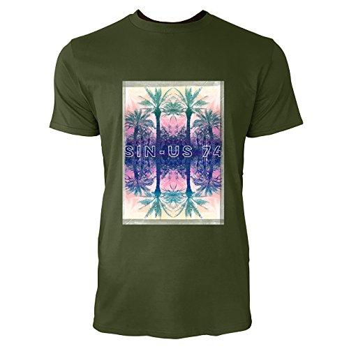 SINUS ART® Spiegelnde Palmen vor Sonnenuntergang Herren T-Shirts in Armee Grün Fun Shirt mit tollen Aufdruck