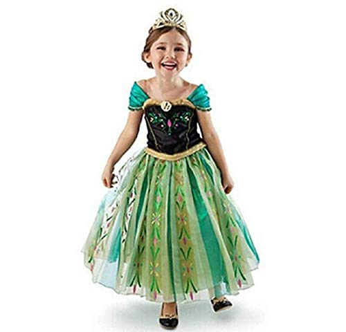 (DaHeng Girls Princess Green Anna Fancy Dress Costume)