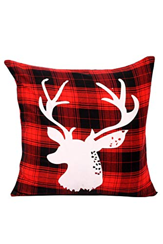 NEXT ATLANTIC Premium Pillow Covers 18 X 18 Inch Cotton White Red Decorative Deer Sofa Throw Pillow Case Cushion Cover (White with Red & Black Plaid Print, 2)