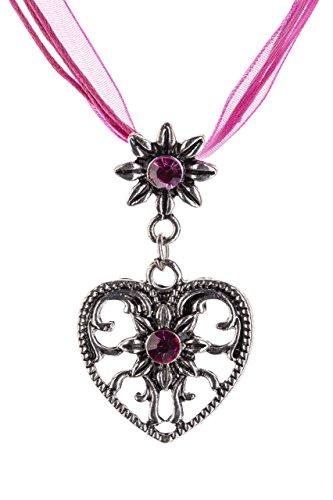Trachtenkette Herz Edelweiss mit glänzenden Strasssteinen Trachten Kette Schmuck in div Farben perfekt für Dirndl, Lederhose und Trachtenbluse (Pink)