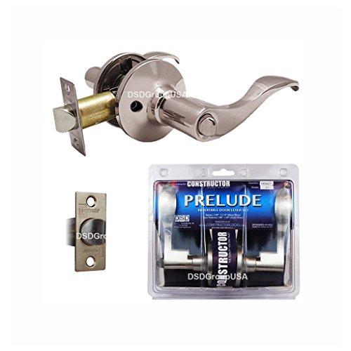 Constructor CON-PRE-SN-BK Prelude Privacy Lever Door Lock  with Knob Handle Lockset, Satin (Nickel Lockset)