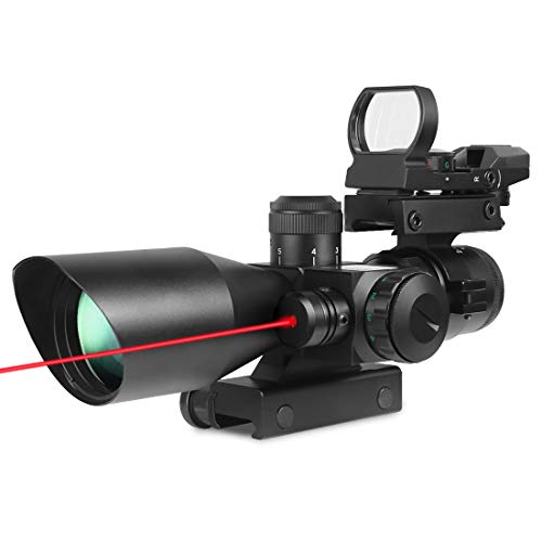 Rifle Scope 3 in 1 2.5-10x40 Tactical Red Laser Rail Mount+Tactical 4 Reticle R&G Dot Open Reflex Sight w/ Weaver-picatinny Rail Mount for 11 Mm Rails+scope Barrel Mount