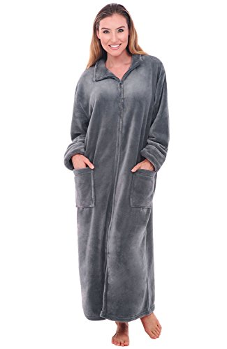Alexander Del Rossa Womens Fleece Robe, Soft Zip-Front Bathrobe, Small Medium Steel Grey (A0300STLMD)