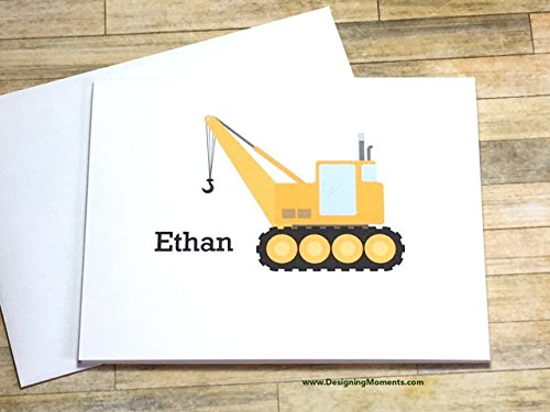 (Boys Construction Stationery Set - Personalized Boys Crane Stationary - Kids Cards - Thank You Cards - Yellow Construction Truck Card)