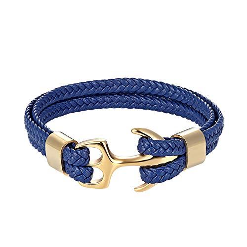 Cyan mango Men's Bracelet Personality Smooth Leather Women Black Anchor Sport Hook Rope Stainless Steel Bracelet & Bangle,21cm ()
