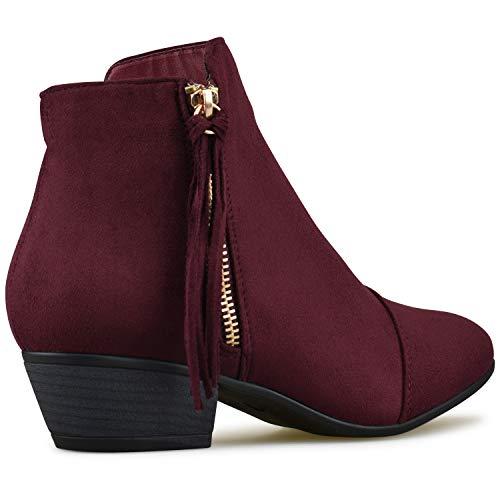 Toe Bootie Closed Premier Cowgirl Comfortable Su Casual Low Standard Heel Western Burgundy Walking Boot Cowboy fTRTqXIp