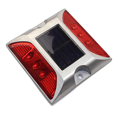 - INLAR Outdoor Solar Deck Lights Waterproof LED Road Stud Light 6 LED Dock Pathway Road Marker Lamp Stairs Step Light Garden Path Traffic Security Warning Light(Red)