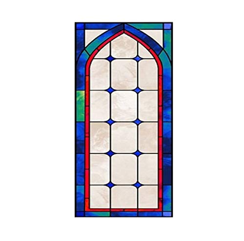 (LMLM Glass Film Electrostatic Frosted Stained Glass Window Film Church Home Foil Door Stickers PVC Self-Adhesive Window Film s90X120CM)