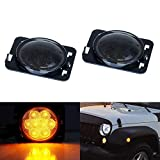 iJDMTOY Smoked Lens Amber Full LED Front Fender Flare Side Marker Light Kit For 2007-2017 Jeep Wrangler JK, Replace OEM Amber or Clear Sidemarker Lamps