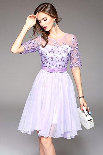 Women s Neck cotyledon Scoop Dresses Purple Formal Embroidery Elegant Dress nxZROWZ