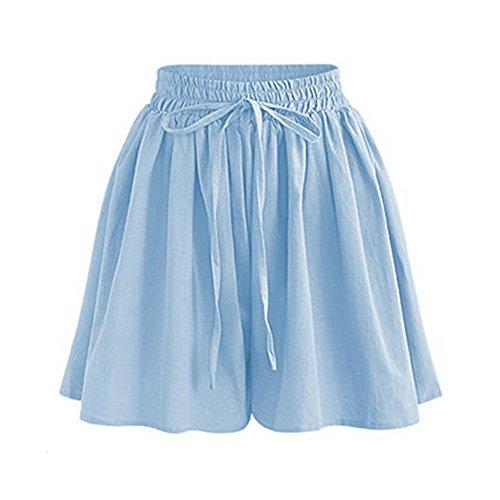 Womens Shorts High Waist Drawstring Elastic Waist Knee Length Shorts Light Blue Tag 4XL-US 14