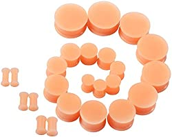 D/&M Jewelry 18pcs Silicone 6g-1 Soft Ear Skin Flesh Tunnels Plugs Ear Piercing