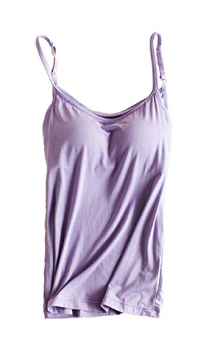 Foxexy Womens Modal Built-in Bra Padded Active Strap Camisole Tanks Tops Purple US 0-2 by Foxexy